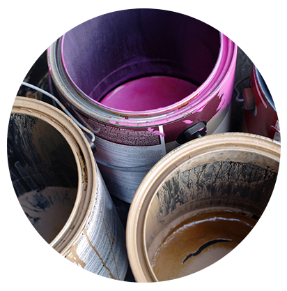 Paint buckets representing industrial tools for maintenance and repair from Sheinberg Tool Co., Inc. in Corpus Christi, TX